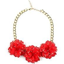 02c4127bc72f Claire Jin Collares Flores Cadena Corto Gargantilla Collar Mujer Joyería  Flor Accesorio de Fiesta 12 Colores