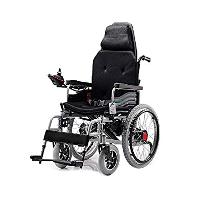 GYH Electric Wheelchair, Folding Intelligent Disabled Elderly Four-Wheel Care Wheelchair, with Headrest, Load 100kg, EPBS Brake System (#)