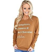 CYL Herbst Damenbekleidung Bequeme Breathable Hülse Rundhalsausschnitt Langarm Brief T-Shirt Weiblich