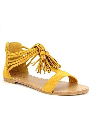 Cendriyon, Sandale simili cuir CH CREATION Color Moutarde Chaussures Femme Jaune
