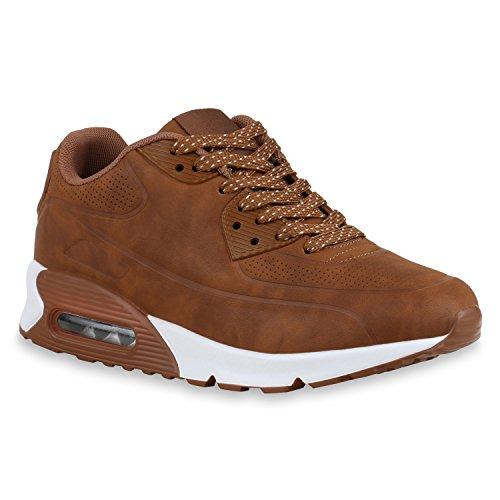 stiefelparadies Damen Herren Lauf Unisex Sport Sneakers Camouflage Fitness Sneaker Leder-Optik Lack Neon Schuhe 129489 Braun Brito 36 Flandell
