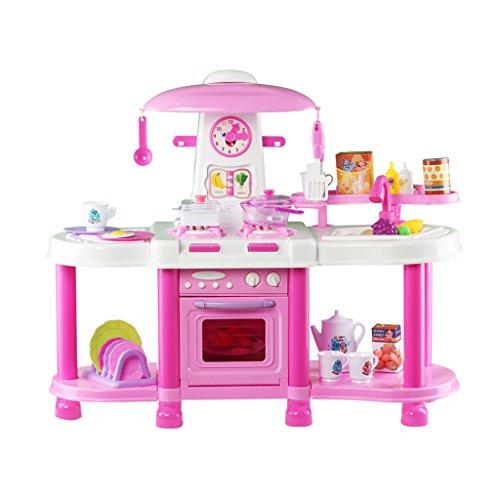 deAO Cocinita de Juguete con Efectos de Luz y Sonido Incluye Múltiples Accesorios Playset (rosa)