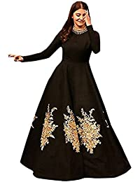Globalia Creation Womens & Girls Cotton Black Party Wear Long Gown (GOL-08896667_Black_Long Gown_Semi-Stitched)