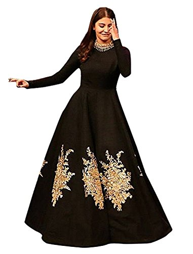 Globalia Creation Women's Crepe Gown (Embroidery Printed Lehenga Choli_Multicolor_Free Size)