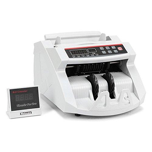 BuoQua Geldzählmaschine mit Echtheitprüfung Banknotenzähler mit UV- und MG-Systeme Geldscheinzähler mit LED Display für Euro Doller Pound