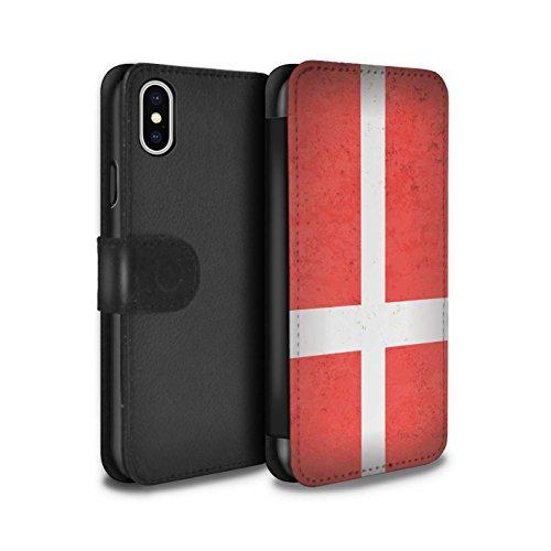 STUFF4 PU-Leder Hülle/Case/Tasche/Cover für Apple iPhone 7 / Mazedonien/Mazedonisch Muster / Europa Flagge Kollektion Dänemark/Dänisch