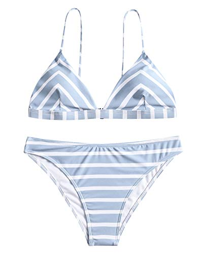t mit Chevron Streifen Spaghettiträger Swimsuit Swimwear Bademode Badeanzug Bikinis Sets Small Blau ()