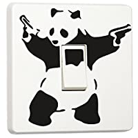 Banksy Graffiti Art Panda with Guns Single Light Switch Cover Vinyl Sticker