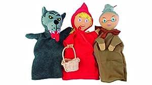 Sycomore MAST301 - Marionnettes à Main - Trio Chaperon Rouge, Loup, Grand-mère - Coffret de Trois Marionnettes avec Livre d'Histoire