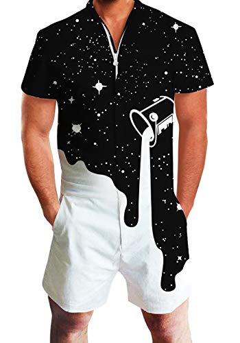 ALISISTER Herren Strampler Jumpsuit Weiß und Schwarz Männer Kurzen Ärmel Zipper Overalls 3D Cooles Grafik Designer Onesie Jumpsuits XL