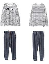 LIUDOU-Primavera Mujeres de manga larga de algodón de pijamas de hombres Pijama Mujeres Rayas Otoño de ropa de invierno , men , m
