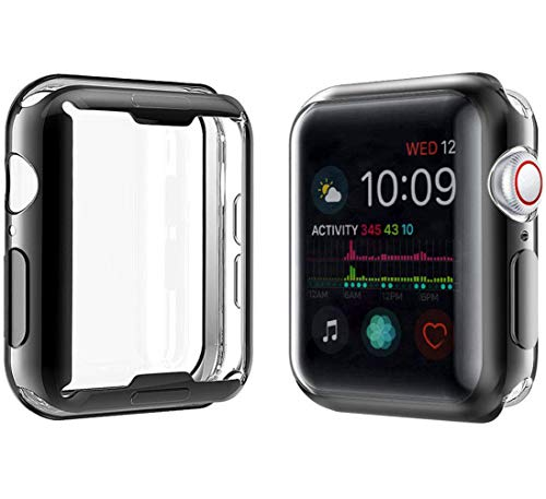 YoLin [2-Pack] Apple Watch Series 5 / Series 4 Schutzhülle, iwatch case Weiche Ultradünne TPU iwatch Displayschutz All-Around Hülle für Apple Watch Series 5 / Series 4 44mm (1 Schwarz + 1 Transparent)
