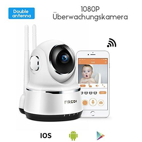 1080P HD Wlan Wifi IP Kamera Sicherheitskamera Überwachungskamera Hund IP Cam Kabellos P2P Schwenkbar Bewegungsmelder 2 Weg Audio IR Nachtsicht für Baby Haustier Überwachung