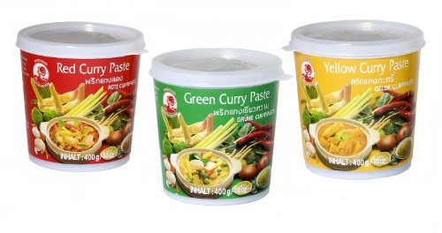 Cock Brand - Probierset Currypasten - 3er Pack (3 x 400g) - 3 Sorten, je 1 Dose Rote, Grüne, Gelbe Currypaste (Thai Red Curry Paste)