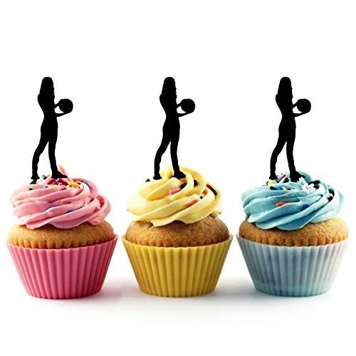 Innovedesire Bowling Player Female Kuchenaufsätze Hochzeit Geburtsta Acryl Dekor Cupcake Kuchen Topper Stand für Kuchen Party Dekoration 10 Stück