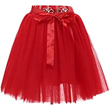 LINNUO Faldas Tul Mujer Falda ala Rodilla de 7 Capas Cintura Elástica Tutu  Princess Tulle con a5c8f19f823c