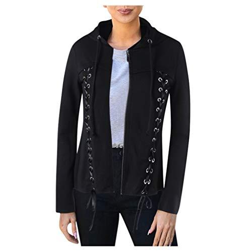 SANNYSIS Damen Hoodie Pullover Blazer Jacke Herbst Winter Lässig Kapuzenpullover Slim Fit Gothic Mantel Mode Reißverschluss Biker Jacken Bomberjacke Dünne Coat Outwear (XL, Schwarz)