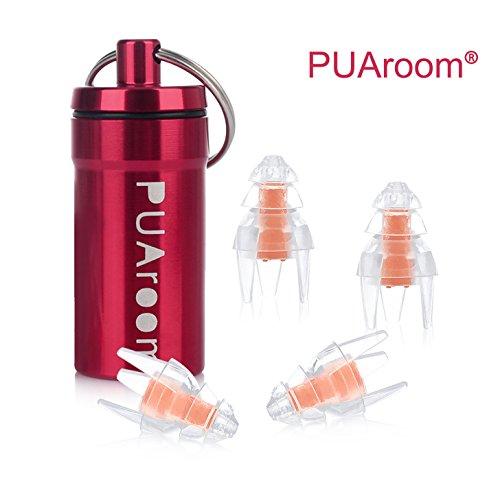 PUAroom SwimmingPro Ohrstöpsel Weiche Silikon wasserdichte Gehörschutzstöpsel für Schwimmen Bad mit Mini Aluminium Carry Flasche (2 Pairs) - Kein Wasser