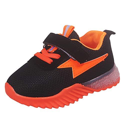 BoyYang Kinder Schuhe Sportschuhe Karikatur LED Leuchtende Mesh Atmungsaktiv Laufschuhe Outdoor Sport Sneaker Turnschuhe Klettverschluss Wanderschuhe Hallenschuhe für Baby Jungen Mädchen (23,Orange)