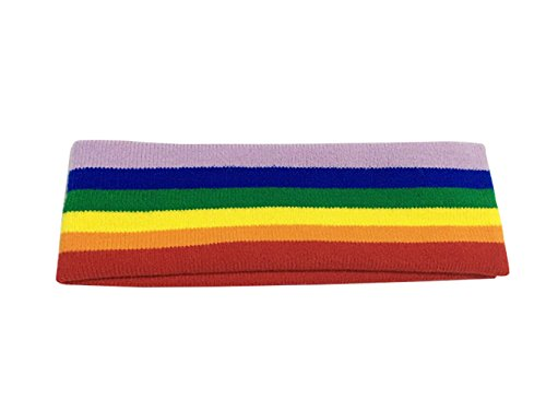 AYOMI Rainbow Stripe Stretchy Sport Headband / Sweatband - LGBT Gay & Lesbian Pride Accessories.