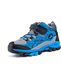Botas de Senderismo Niños Zapatos NieveInvierno Forradas Cálidas Antideslizante Zapatillas Trekking Montaña Negro Azul Verde Naranja EU 30-41