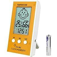 fgyhtyjuu CX-201 LCD Digital termómetro higrómetro Humedad del Reloj del Metro de la Temperatura Cara del bebé Comfort Nivel de visualización de la estación meteorológica
