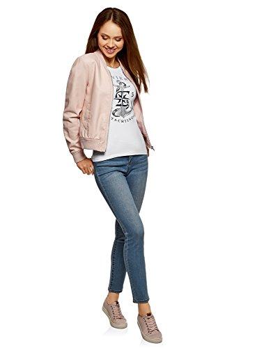 oodji Ultra Damen T-Shirt mit Marine-Druck Weiß (1091P)