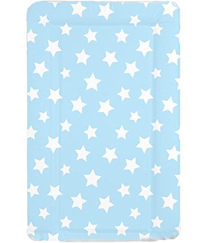 Wickelauflage, wasserdicht, abwischbar, mit erhöhten Seitenrändern, Blau mit weißen Sternen