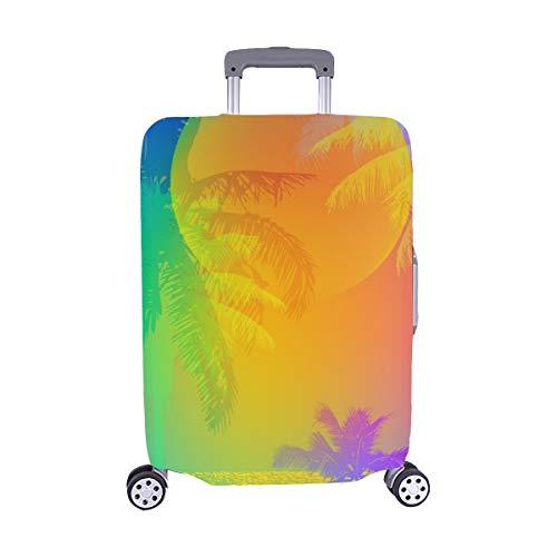 Tropischer Sonnenuntergang Tropischer Sonnenaufgang auf Palmenmuster Spandex-Staubschutz Trolley Protector case-Reisegepäck-Schutzkoffer-Abdeckung 28,5 X 20,5 Zoll -