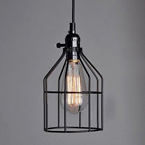 Retro Industrial acabado de metal colgante jaula de alambre para lámp