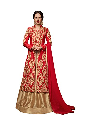 Monika Silk Mill Elegent Red Color Banglori Silk Embroidered Suit