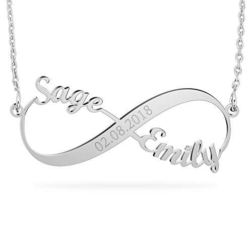 skette Unendlichkeits Ketten mit Wunsch Datum Persönalisierte Infinity Namen Halskette 925 Sterling Silber für Paare Love ()
