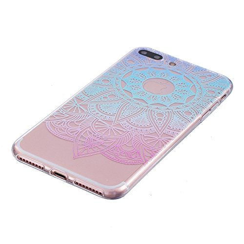 Cover iPhone 7, CXTcase Custodia Soft TPU Silicone Gel Flessibile Sottile Bumper Ultra Slim Trasparente Crystal Cover per Apple iPhone 7 Case Indiana Girasole Nero Girasole Blu