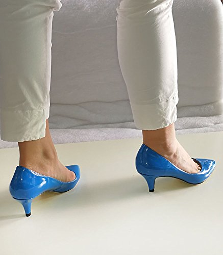 Wealsex Escarpins Vernis PU Cuir Talon Aiguille Bout Pointu Talons Moyen 6 CM Style OL Classique Femme bleu foncé