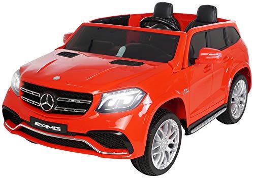 *Actionbikes Motors Kinder Elektroauto Mercedes GLS63 – Lizenziert – 4 x 45 Watt Motor – Ledersitz – Eva Vollgummireifen (Rot)*