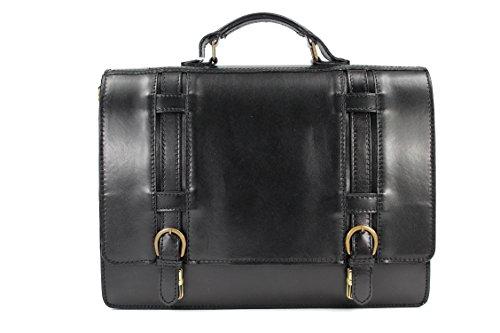 BELLI Design Bag ital. XXL Leder Businesstasche Lehrertasche Aktentasche unisex - 40x30x16 cm (B x H x T) (Schwarz) (Aktentasche Nappa-leder)