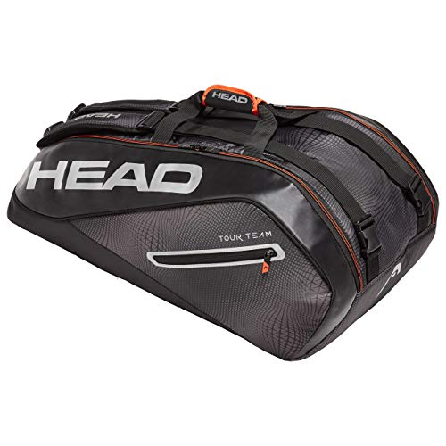 HEAD Unisex - Erwachsene Tour Team 9R Supercombi Tennistasche, Black/Silver, Andere