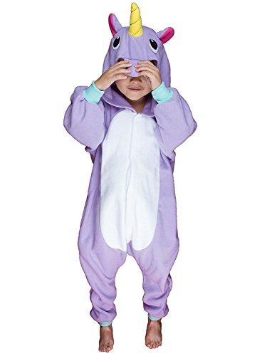 Kenmont Jumpsuit Tier Cartoon Einhorn Pyjama Overall Kostüm Sleepsuit Halloween Cosplay Animal Sleepwear für Kinder Baby (Größe95: Höhe 95-110, Purple)