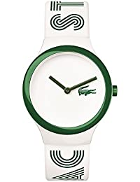Lacoste Herren & Damen Weiß Kautschuk Armband Plastik Gehäuse Uhr 2020104