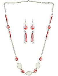 AccessHer Red And White Beads With Silver Chain Necklace For Women