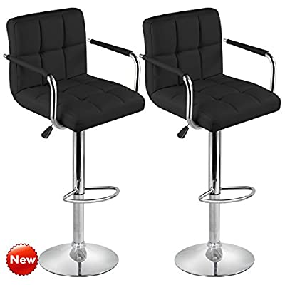 Tinxs Designer PU Leather Adjustable Office/Home Chair Swivel Chrome Cuban Bar Stool