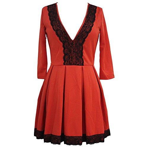 Europe et les États-Unis Automne robe robe Nouveau sept points v profonde robe de dentelle collier Red