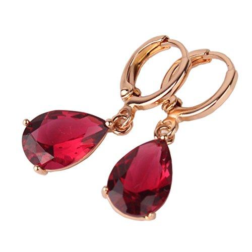Gulicx, orecchini pendenti placcati in oro bianco, con zirconia cubica di forma a goccia, con chiusura a ponte e ottone, colore: red, cod. E010b