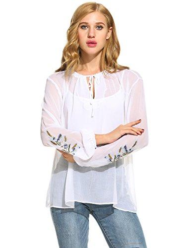 Zeagoo Damen Chiffon Bluse langarm transparent Tops vintage elegant floral Shirt  Weiß