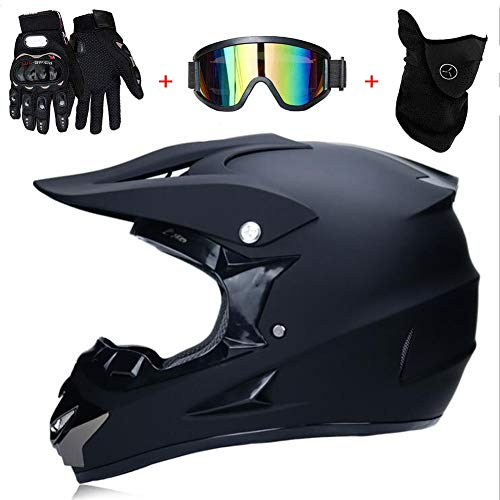 Motocross Helm Matte Schwarz, Herren Crosshelm mit Brillen Maske Handschuhe (4Pcs), Adult Motorrad Sports Damen Männer Enduro Downhill Helm ATV MTB Quad Motorräder Off-Road-Motorrad-Helm,M(54~55cm)