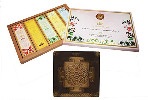 Tatva Yog - Copper Shree Yantra and Eka The Supreme Oneness - Rose, Sandal, Jasmine, Kewra and Musk Natural Masala Incense Sticks -