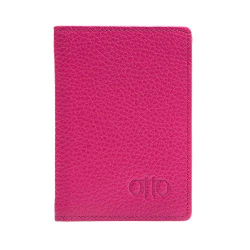 Otto Angelino Bifold Leather Wallet - Passport Style ID, Bank Cards and Cash, RFID Blocking - Unisex (Pink)