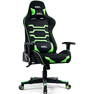 Umi Gaming Stuhl Bürostuhl Schreibtischstuhl mit Wippfunktion Gamer Stuhl Stoff Höhenverstellbarer Drehstuhl PC Stuhl Ergonomisches Chefsessel Grün