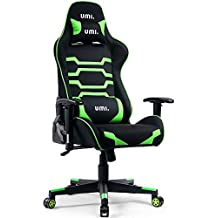 Umi. Essentials Gaming Chair Ergonomic Computer Chair with Adjustable Height, Headrest and Lumbar Support (Green)