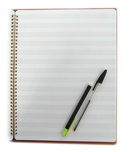 Tipome.com blocco pentagramma spiralato maxi (foglio singolo 24x32cm) 50 fogli carta avoriata spessa 120gr
